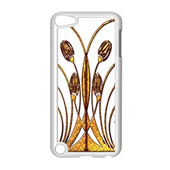 Scroll Gold Floral Design Apple iPod Touch 5 Case (White)