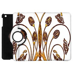 Scroll Gold Floral Design Apple iPad Mini Flip 360 Case