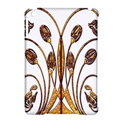 Scroll Gold Floral Design Apple Ipad Mini Hardshell Case (compatible With Smart Cover)