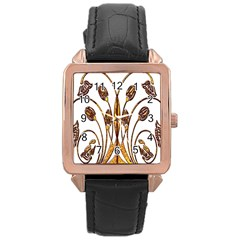 Scroll Gold Floral Design Rose Gold Leather Watch