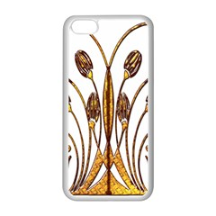 Scroll Gold Floral Design Apple iPhone 5C Seamless Case (White)
