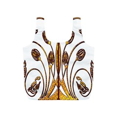 Scroll Gold Floral Design Full Print Recycle Bags (s)