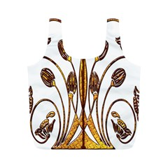 Scroll Gold Floral Design Full Print Recycle Bags (m)