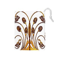 Scroll Gold Floral Design Drawstring Pouches (Medium)