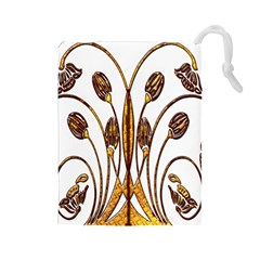 Scroll Gold Floral Design Drawstring Pouches (large)