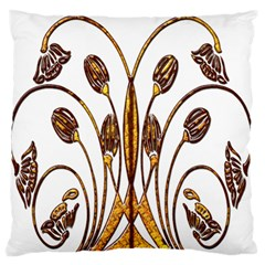 Scroll Gold Floral Design Standard Flano Cushion Case (Two Sides)