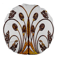 Scroll Gold Floral Design Large 18  Premium Flano Round Cushions