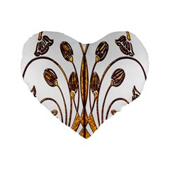 Scroll Gold Floral Design Standard 16  Premium Flano Heart Shape Cushions