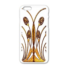 Scroll Gold Floral Design Apple Iphone 6/6s White Enamel Case