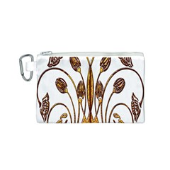 Scroll Gold Floral Design Canvas Cosmetic Bag (S)