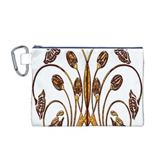 Scroll Gold Floral Design Canvas Cosmetic Bag (M)