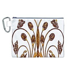 Scroll Gold Floral Design Canvas Cosmetic Bag (l)