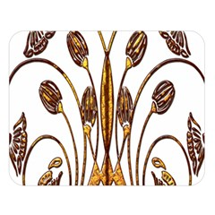 Scroll Gold Floral Design Double Sided Flano Blanket (large)