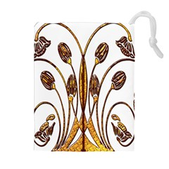 Scroll Gold Floral Design Drawstring Pouches (extra Large)