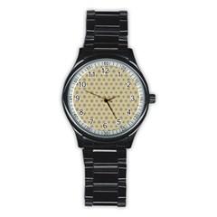 Star Basket Pattern Basket Pattern Stainless Steel Round Watch