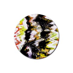 Canvas Acrylic Digital Design Rubber Round Coaster (4 Pack)