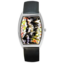 Canvas Acrylic Digital Design Barrel Style Metal Watch