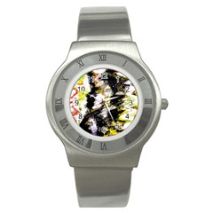 Canvas Acrylic Digital Design Stainless Steel Watch