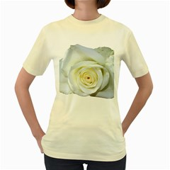 Flower White Rose Lying Women s Yellow T Shirt