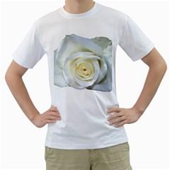 Flower White Rose Lying Men s T Shirt (white) (two Sided)