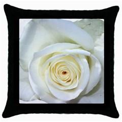 Flower White Rose Lying Throw Pillow Case (Black)