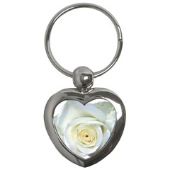 Flower White Rose Lying Key Chains (Heart)