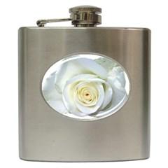 Flower White Rose Lying Hip Flask (6 Oz)