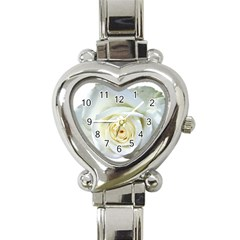 Flower White Rose Lying Heart Italian Charm Watch