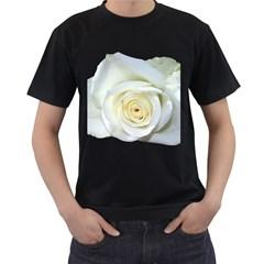 Flower White Rose Lying Men s T Shirt (black) (two Sided)