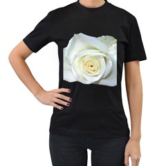 Flower White Rose Lying Women s T Shirt (black) (two Sided)