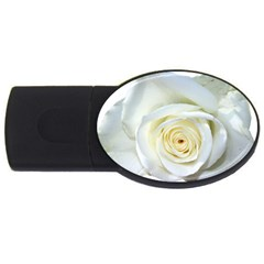 Flower White Rose Lying Usb Flash Drive Oval (4 Gb)