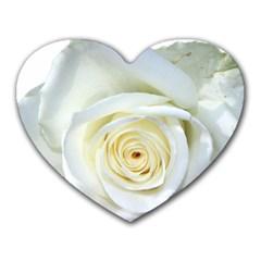 Flower White Rose Lying Heart Mousepads