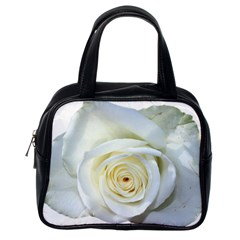 Flower White Rose Lying Classic Handbags (One Side)