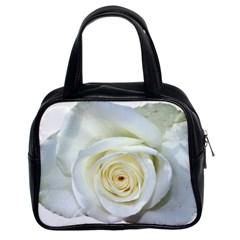 Flower White Rose Lying Classic Handbags (2 Sides)