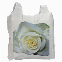 Flower White Rose Lying Recycle Bag (two Side)