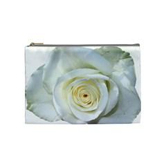 Flower White Rose Lying Cosmetic Bag (medium)
