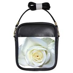 Flower White Rose Lying Girls Sling Bags