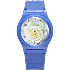 Flower White Rose Lying Round Plastic Sport Watch (s)