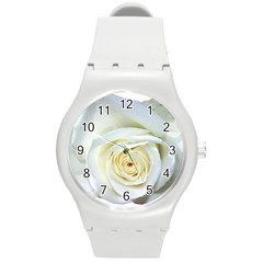 Flower White Rose Lying Round Plastic Sport Watch (M)