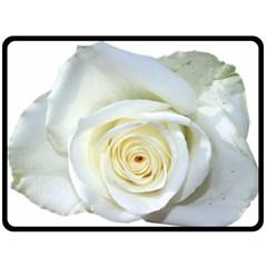 Flower White Rose Lying Double Sided Fleece Blanket (Large)