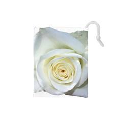 Flower White Rose Lying Drawstring Pouches (small)
