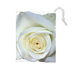 Flower White Rose Lying Drawstring Pouches (large)