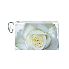 Flower White Rose Lying Canvas Cosmetic Bag (s)
