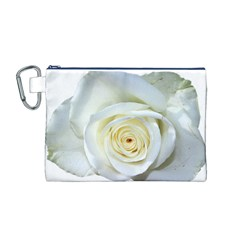 Flower White Rose Lying Canvas Cosmetic Bag (m)