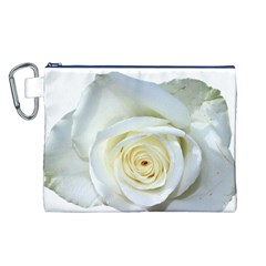Flower White Rose Lying Canvas Cosmetic Bag (L)