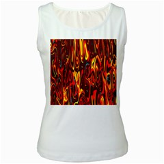 Effect Pattern Brush Red Orange Women s White Tank Top