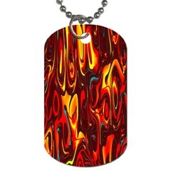 Effect Pattern Brush Red Orange Dog Tag (one Side)