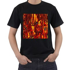 Effect Pattern Brush Red Orange Men s T Shirt (black) (two Sided)