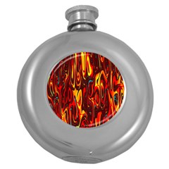 Effect Pattern Brush Red Orange Round Hip Flask (5 Oz)
