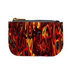 Effect Pattern Brush Red Orange Mini Coin Purses